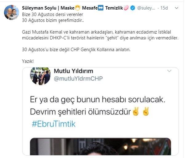Bakan Soylu:30 Ağustos'u bize değil, CHP Gençlik Kollarına anlatın