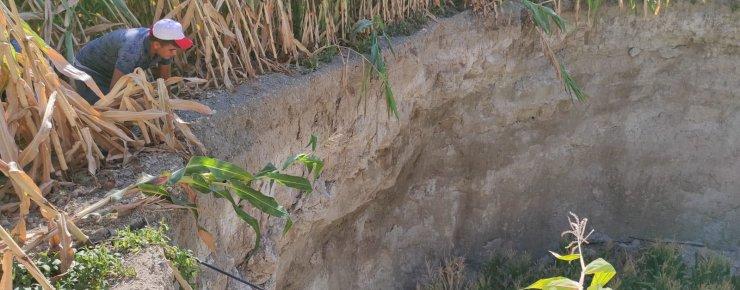 Konya'da mısır tarlasında obruk oluştu