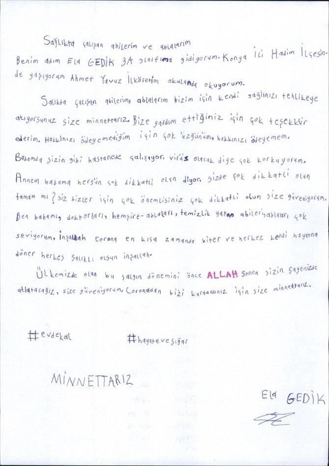 Hadim'de öğrencilerden sağlık çalışanlarına mektup