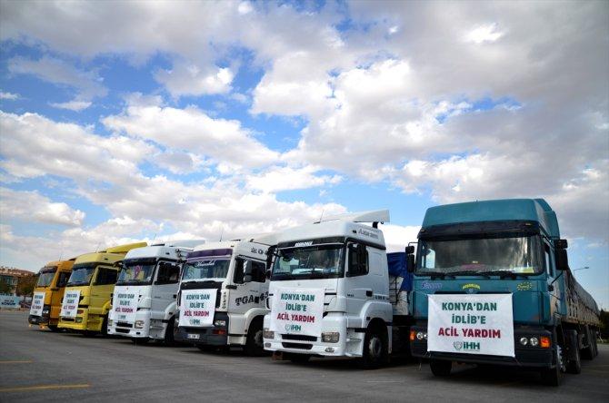 Konya'dan Suriye'ye 7 tır gıda yardımı gönderildi