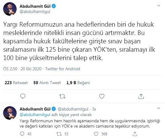 Bakan Gül'den, hukuk fakültesine giriş sıralamasına düzenleme talebi