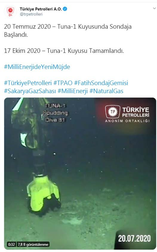 TPAO, Karadeniz'deki sondaj çalışmalarının görüntülerini paylaştı