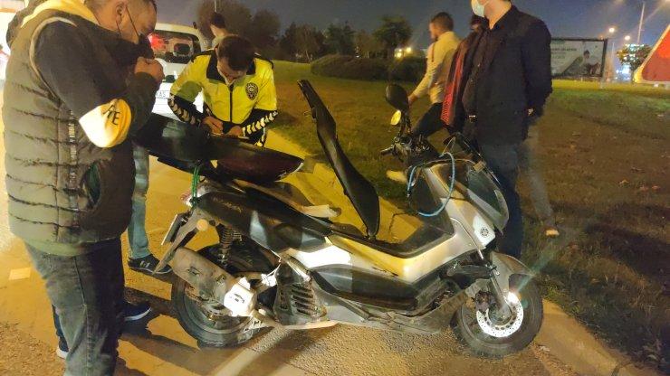 Kazayı görüp, aniden frene basan motosiklet sürücüsü yaralandı