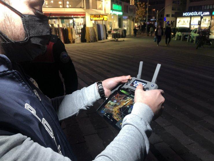Kısıtlamaya saatler kala oluşan trafik yoğunluğuna drone'lu denetim