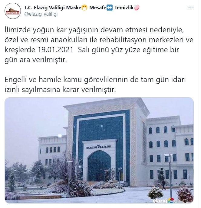 Elazığ'da kar nedeniyle yüz yüze eğitime bir gün ara verildi