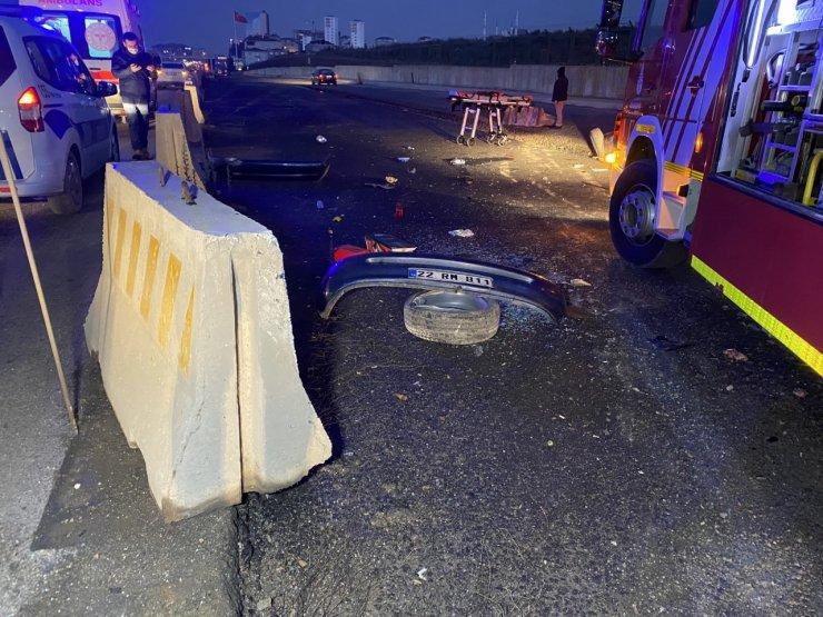 Tuzla'da otomobil beton bariyere çarpıp takla attı; 1 ölü