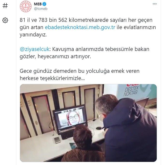 Bakan Selçuk'tan 'EBA destek nokları' teşekkürü