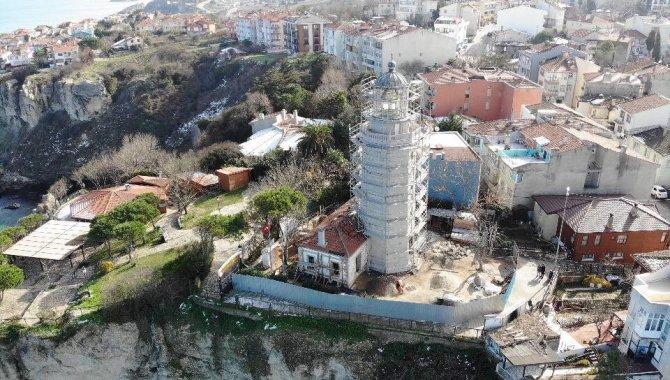 Şile Feneri'ndeki restorasyon çalışmaları havadan görüntülendi