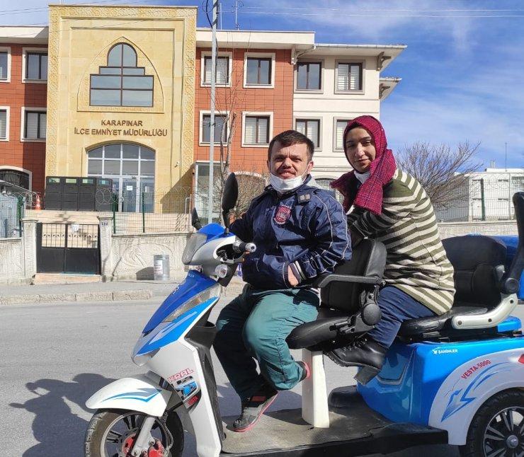 Konya'da Engelli çiftin çalınan elektrikli motosikleti, satışa çıkarılınca bulundu