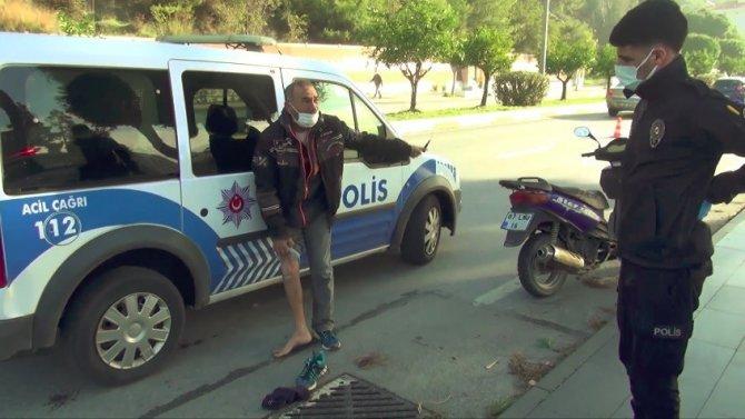 Motosikletinin bağlanacağını öğrenen sürücü çılgına döndü