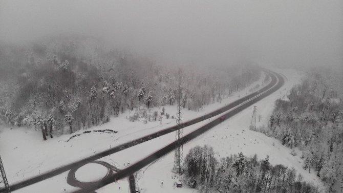 Zonguldak'ın yüksek kesimlerinde kar yağışı etkili oldu