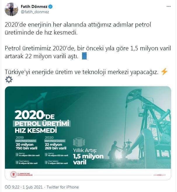 Bakan Dönmez: Petrol üretimimiz 22 milyon varili aştı