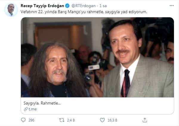 Erdoğan'dan 'Barış Manço' mesajı