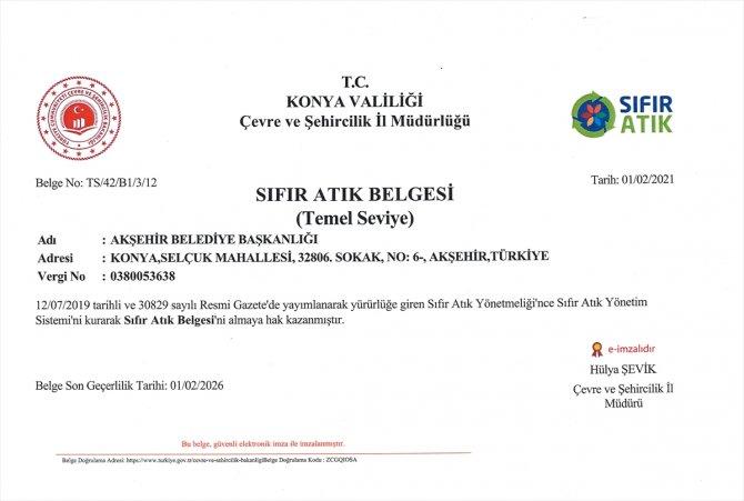 """Akşehir Belediyesi """"sıfır atık belgesini"""" aldı"""