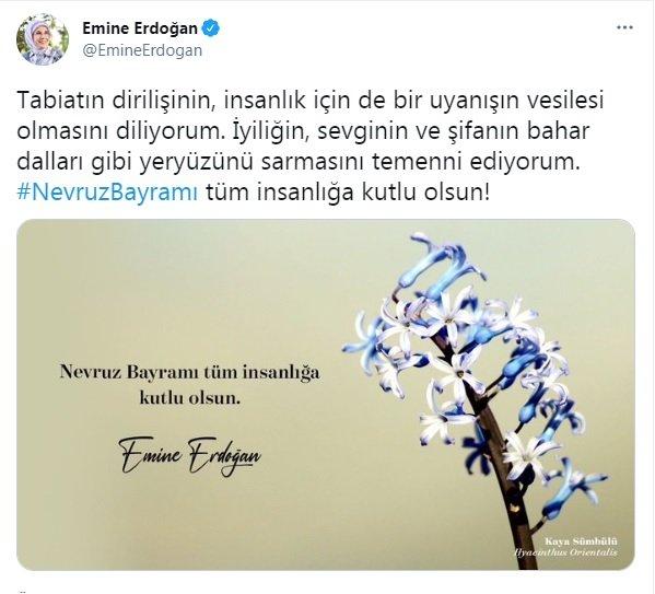 Emine Erdoğan'dan Nevruz Bayramı mesajı