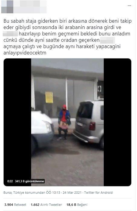 Genç kız, kendisini takip edip sokakta mastürbasyon yapan tacizciyi görüntüledi