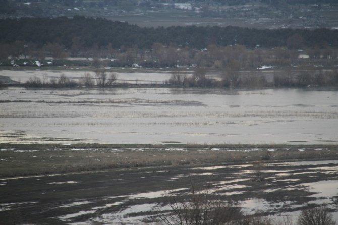 Beyşehir'de eriyen karlar, ekili arazileri suyla doldurdu