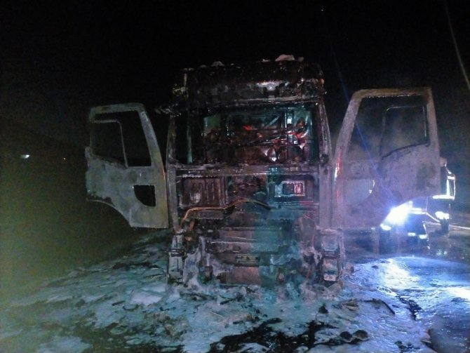 Benzin yüklü tanker yangınında faciadan dönüldü