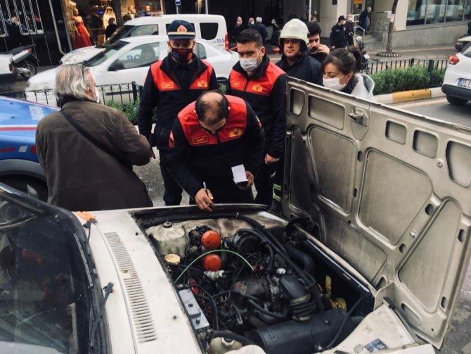 LPG'li otomobilde çıkan yangın panik oluşturdu