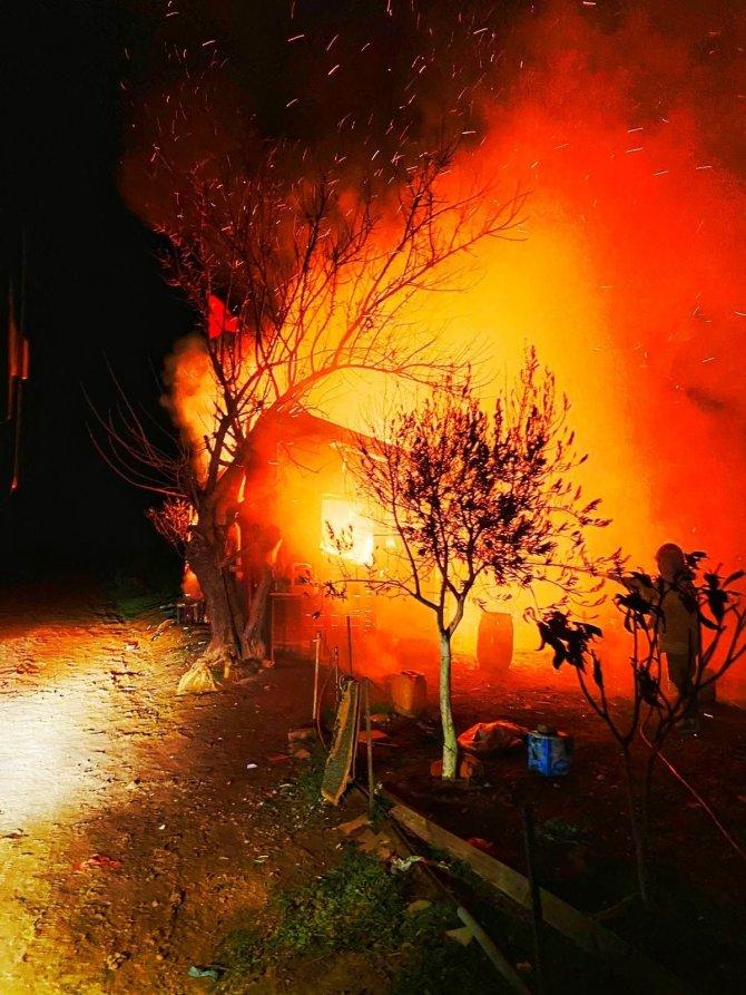 Bağ evinde çıkan yangın, geceyi aydınlattı