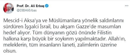 Ali Erbaş:Filistin halkına karşı büyük bir soykırım yapılmakta