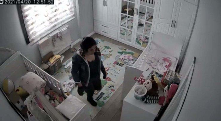 Eve giren hırsızlık şüphelisi, kameradan belirlenip yakalandı