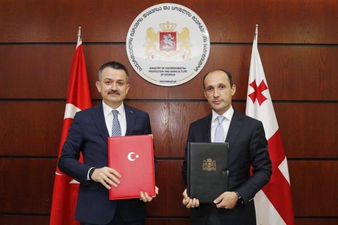 Bakan Pakdemirli, Gürcistan Çevre Koruma ve Tarım Bakanı Davitaşvili ile görüştü