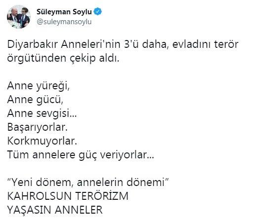 Bakan Soylu:Diyarbakır Anneleri'nin 3'ü daha, evladını terör örgütünden aldı
