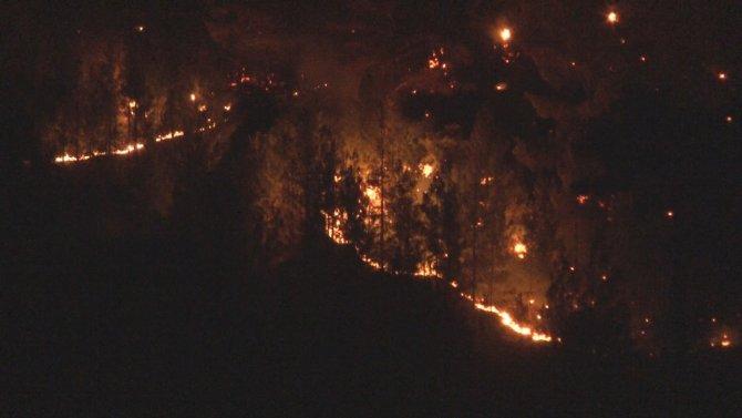 Yangında alevler geceyi aydınlattı
