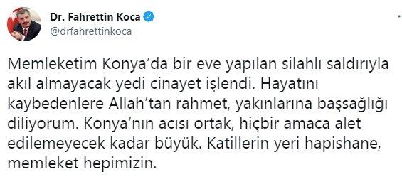 Bakan Koca: Memleketim Konya'da akıl almayacak yedi cinayet işlendi