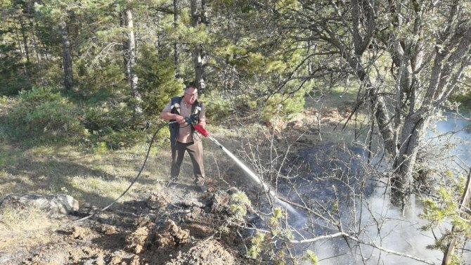 Karabük'te ekin tarlasındaki yangın ormana sıçramadan söndürüldü