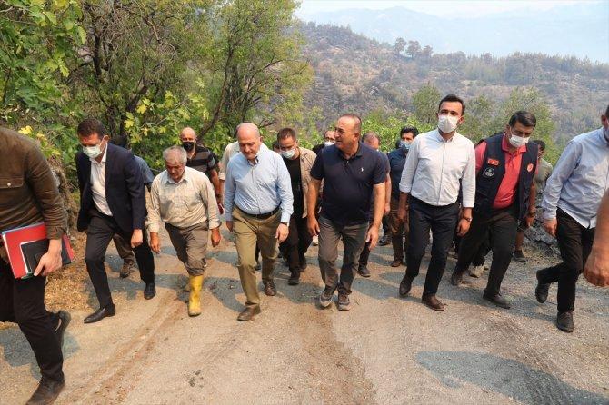 Bakanlar Soylu ve Çavuşoğlu, Alanya ile Gündoğmuş'taki yangın bölgesinde incelemelerde bulundu