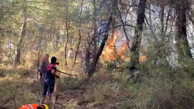 Aydın itfaiyesinin, Marmaris'te ateşle mücadelesi sürüyor
