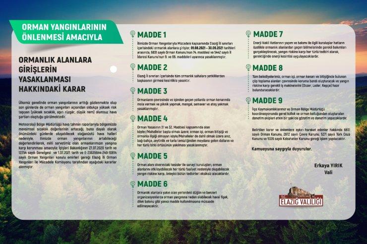 Elazığ'da ormanlık alanlara giriş yasaklandı