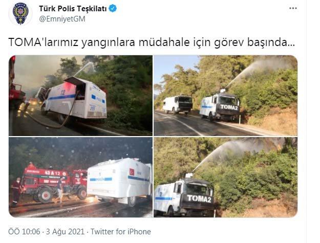 Orman yangınlarına TOMA ile müdahale