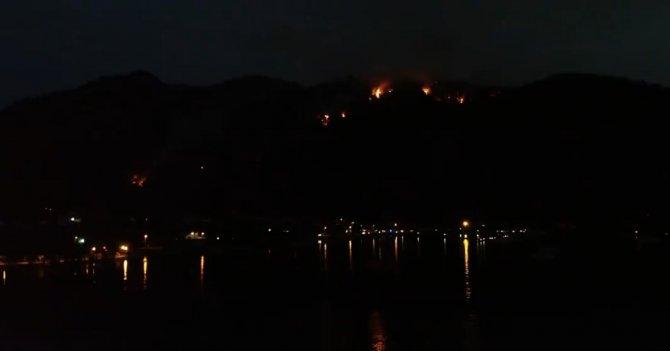 Gece devam eden yangın havadan görüntülendi