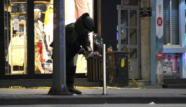 Çöp kutusundaki kadın çantası fünye ile patlatıldı