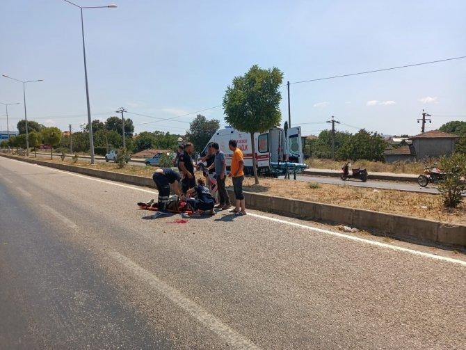 Metrelerce sürüklenen motosiklet sürücüsü ağır yaralandı