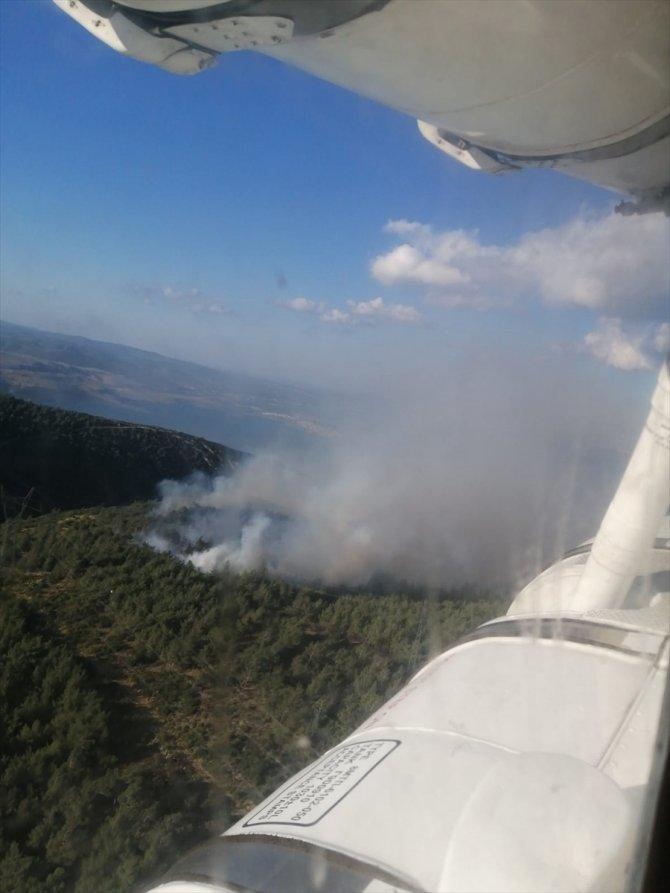 Makilik alanda çıkan yangına müdahale ediliyor