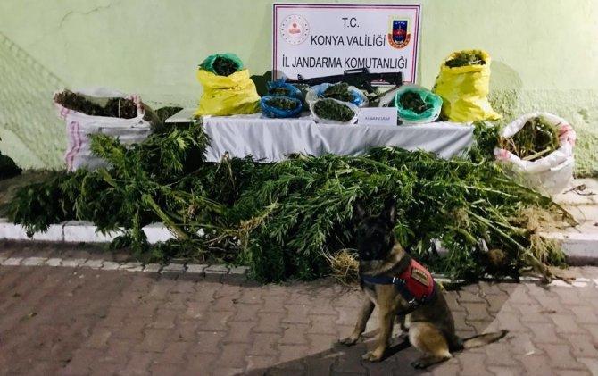 Konya'da saman yığınlarının arasında 23 kilo uyuşturucu ele geçirildi