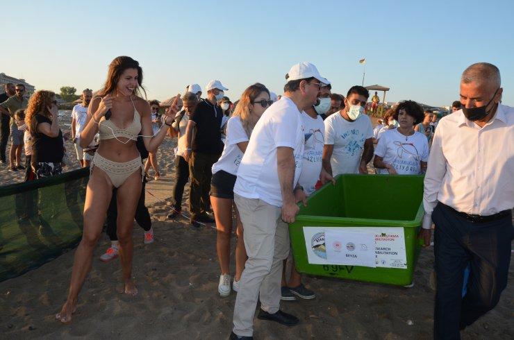 Antalya'da 4 caretta caretta denize bırakıldı