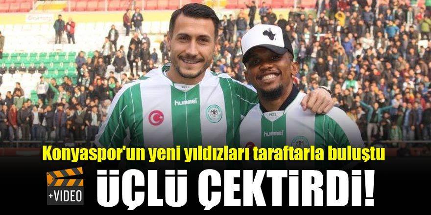 Konyaspor'un yıldızları Eto'o ve Jahovic taraftarla buluştu