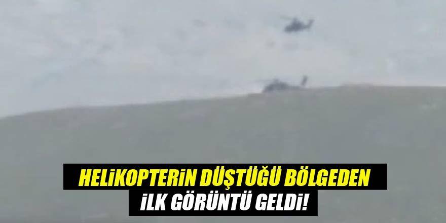 Helikopterin düştüğü bölgeden ilk görüntü