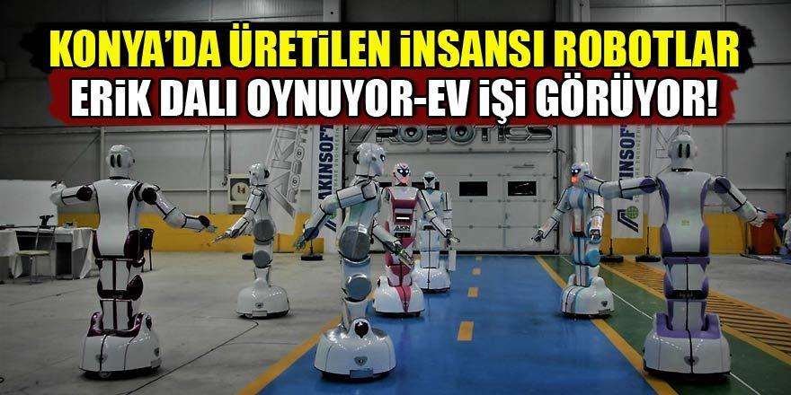 """Konya'da üretilen yerli insansı robotlar """"erik dalı"""" oynuyor"""