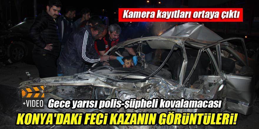 Konya'da polisten kaçan şüphelilerin kaza anı kamerada