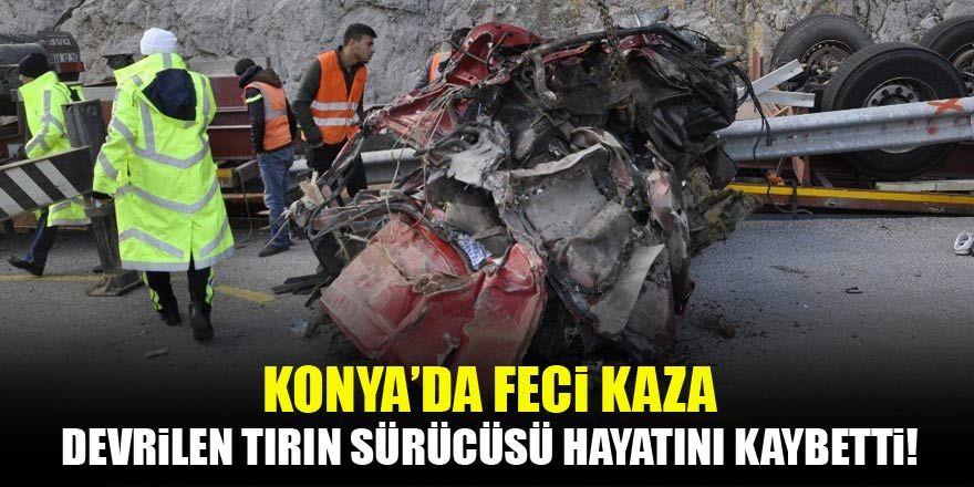 Konya'da tır devrildi: 1 ölü