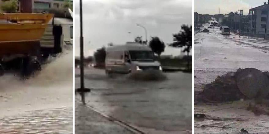 Konya'da aniden bastıran sağanak yağış hayatı felç etti
