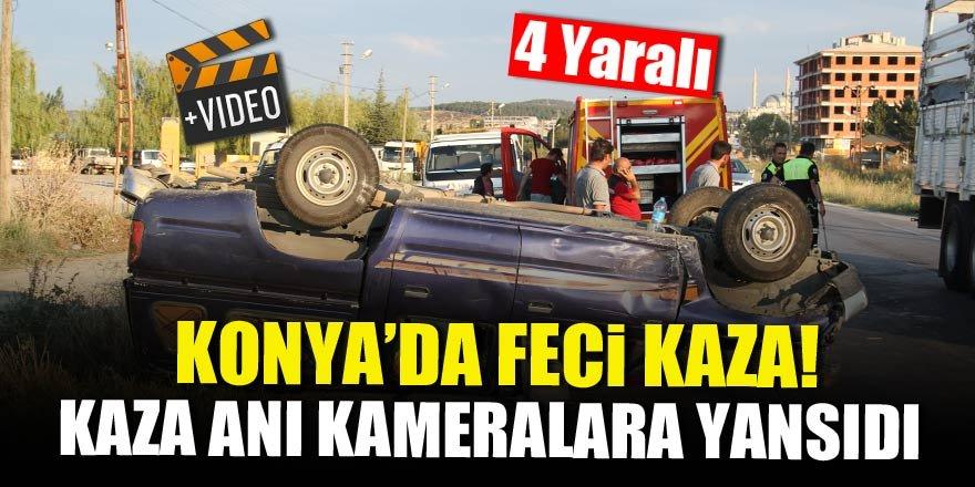 Konya'da feci kaza! Kaza anı kameralara yansıdı
