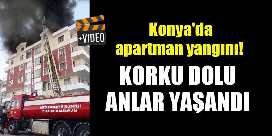 Konya'da apartman yangını! Korku dolu anlar yaşandı