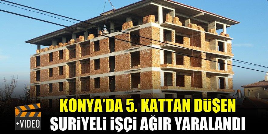 Konya'da 5. kattan düşen Suriyeli işçi ağır yaralandı